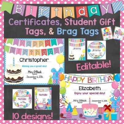 Birthday Certificates, Gift Tags, Brag Tags, Crown Editable
