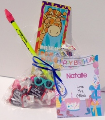 student birthday gift bag and tag
