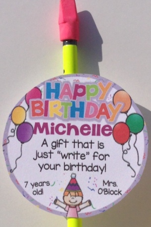 student birthday gifts - pencils with gift tags