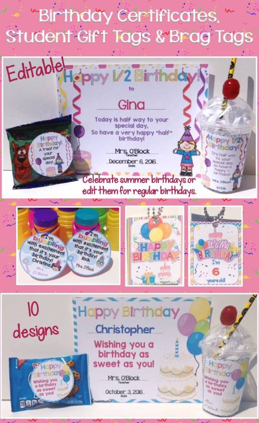 Student birthday certificates, gift tags, brag tags