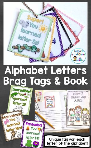 brag tags for the letters of the alphabet and an alphabet brag tags book