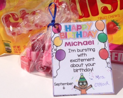 Starburst student birthday gift tag