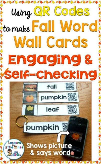 Using QR codes to make fall word wall cards that are engaging and self-checking