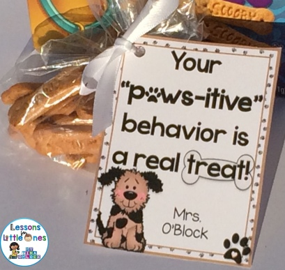 "Your ""Paws-itive"" Behavior is a Real Treat Student Gift Tag"