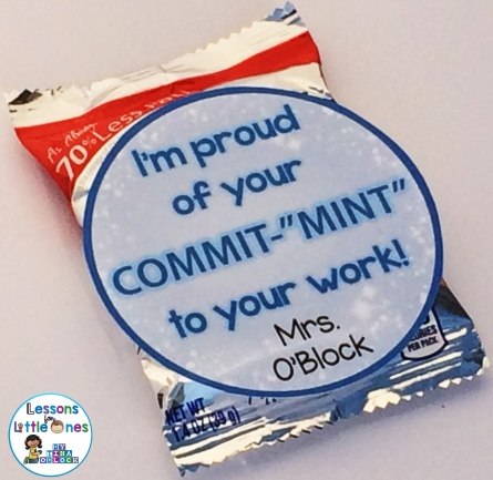 "I'm Proud of Your ""Commit-MINT"" to Your Work! Student Gift Tag"
