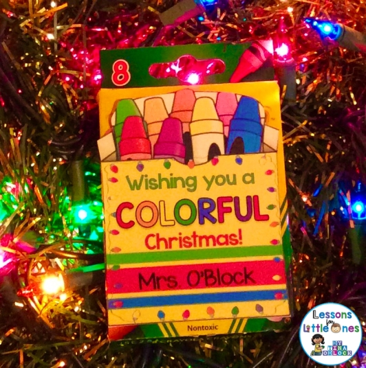 Christmas student gift tag for crayons