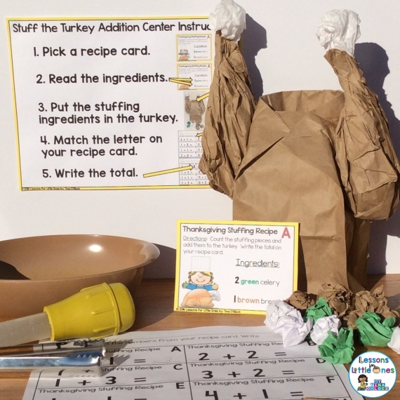 Thanksgiving turkey differentiated math center