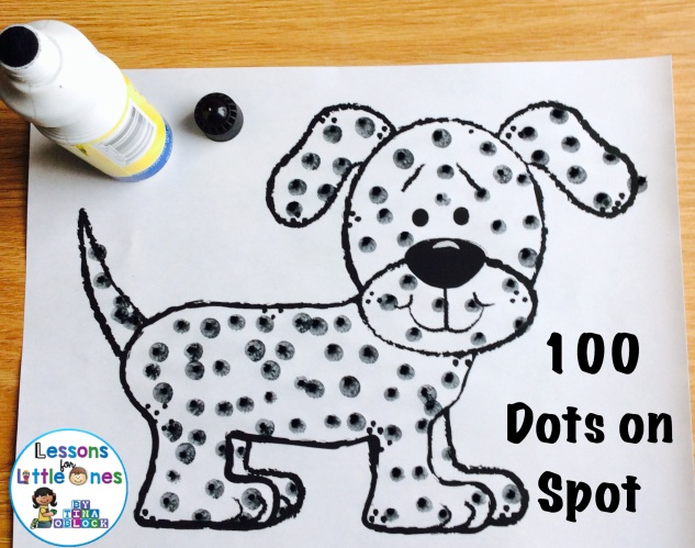 100 dots on Spot 100th day of school activity