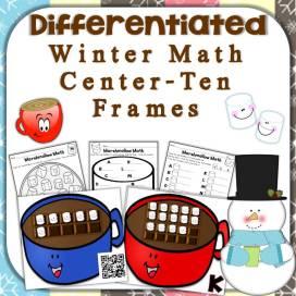 winter hot chocolate math center - ten frames