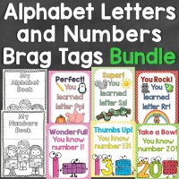 Alphabet Letters & Numbers Brag Tags Bundle -Tags for Each Letter & Numbers 0-20
