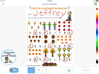 differentiated counting practice using Seesaw app