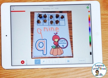writing numbers on counting mats in Seesaw app