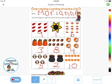 counting, writing numbers practice using Seesaw app