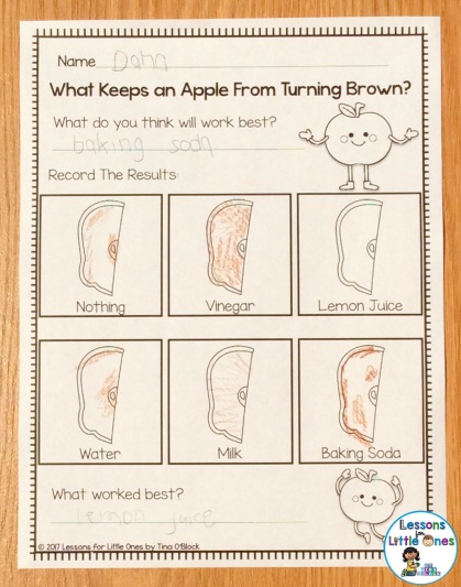apple browning experiment page